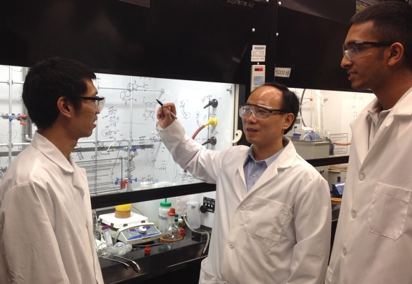 Chuanbing Tang (center) led the research team, which included graduate students Jiuyang Zhang (left) and Mitra Ganewatta. Photo credit goes to: University of South Carolina