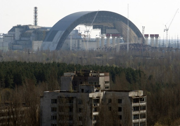 The first half of the Chernobyl New Safe Confinement, or NSC. Photo credit goes to: AFP PHOTO/ ANATOLIY STEPANOV
