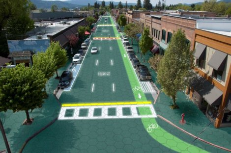 Artist's rendition of downtown Sandpoint, Idaho - Home of Solar Roadways Graphic design by Sam Cornett