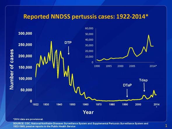 Graph from the CDC showing whooping cough cases from 1922-2014