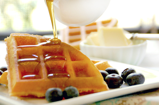 Maple syrup covered waffles