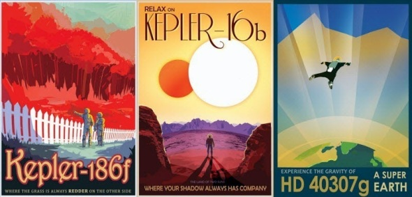 retro space travel posters