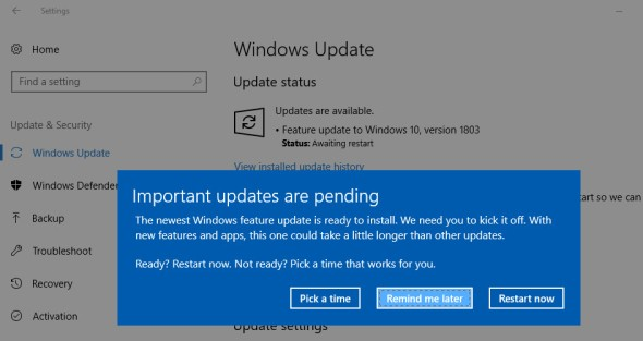 windows10 update screen