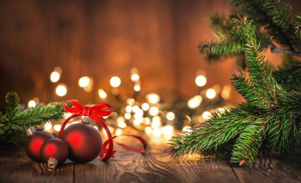 Red Christmas Balls on Old Wood with Christmas lights