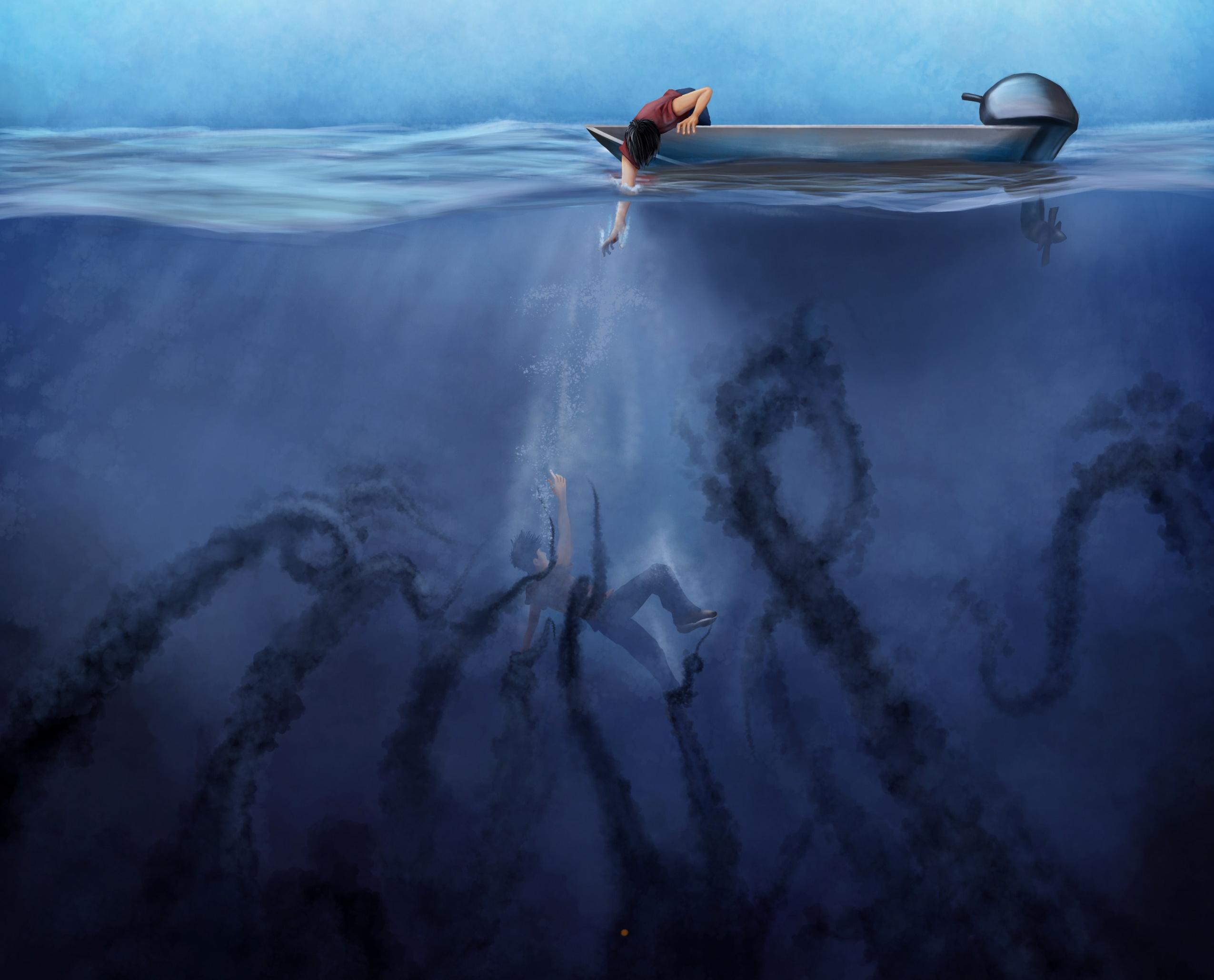drowning being pulled underwater by dark tentacles