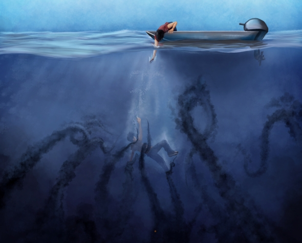 drowning being pulled underwater by dark tentacles