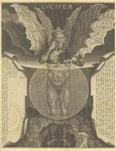 From Dante's Inferno, a drawing of Lucifer in hell