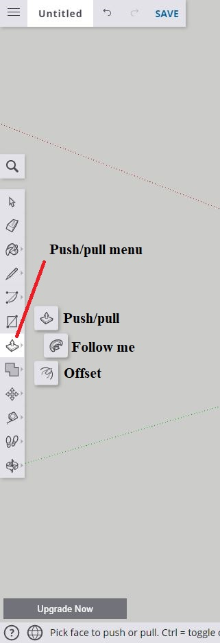 Sketchup push-pull menu