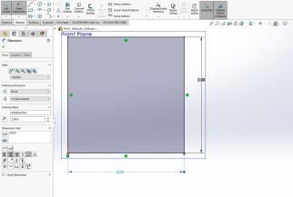 Now we are in our smart dimension tool options (on left) where we can set the dimensions of our rectangle to be 2 inches x 2 inches (50mm x 50mm)