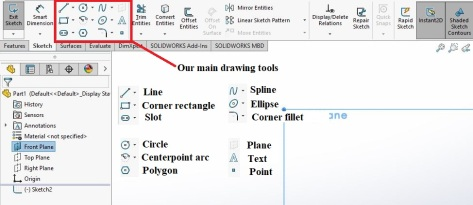 In solidworks, you need to create a sketch to use these tools, but they are located in the sketch tab at the top of the program window.