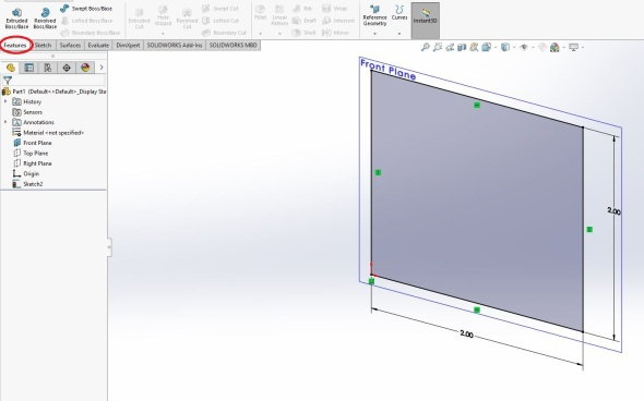 Solidworks features menu