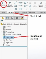 To create a sketch, select the plane you want. In this case I'm using the front plane. Next click on the sketch tab, then select sketch (circled in red)