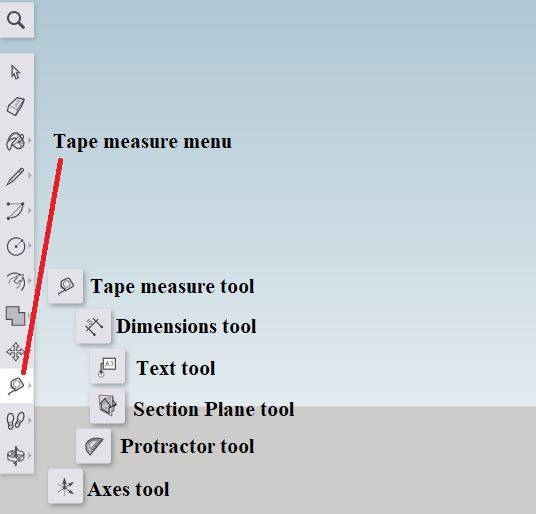 Sketchup - tape measure menu