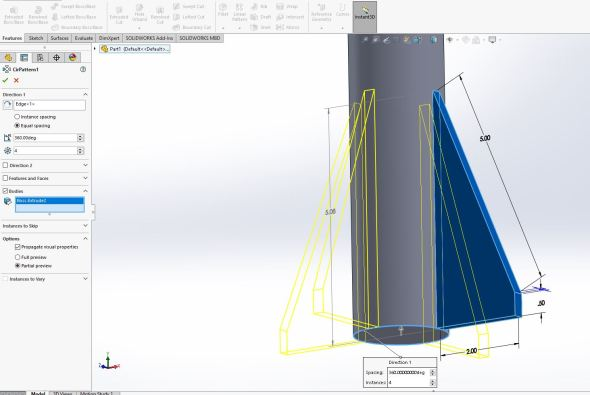 Solidworks - four fin