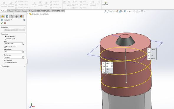 Solidworks - helix options