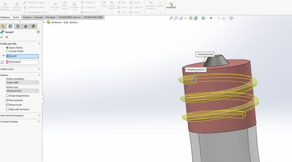Solidworks - helix sweep