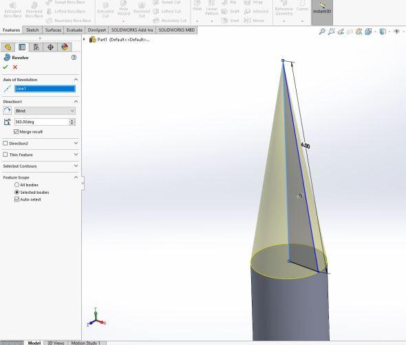Solidworks - nose cone revolve