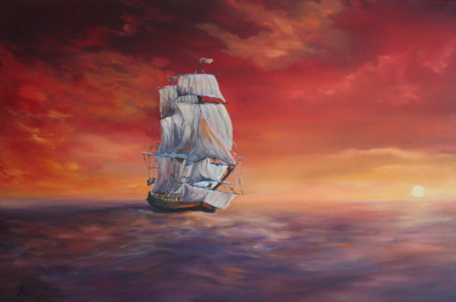 a painting of a ship at sunset on calm seas