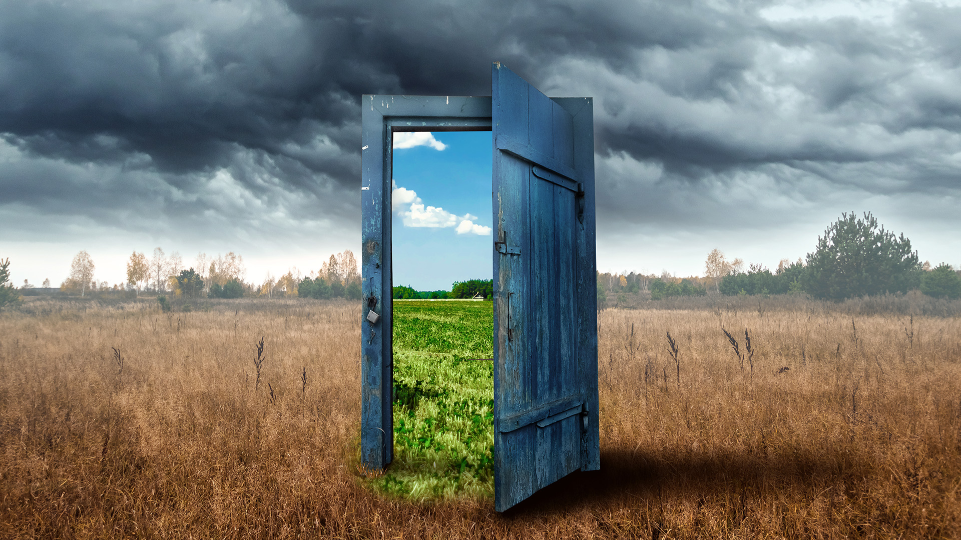 old door in middle of field, which opens to a whole different world.